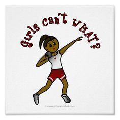 Dark Girls Shot Put in Red Uniform Posters from http://www.zazzle.com/track+and+field+posters