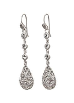 WRAPPED DISCO TEARDROP, EARRING SILVER FINISH