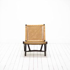Hans Wegner Danish Modern Chairs | Mid-Century Modern Jute Woven Chairs with Dark Wood Frame  | via Birch & Brass Vintage Rentals for Weddings and Special Events | Austin, TX