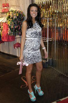 Michelle Keegan Platform Sandals - Michelle Keegan completed her striking look with a pair of chunky blue platform sandals. Michelle Keegan, Lipsy, Zebra Print, Blue Shoes, Platform, Pairs, Shirt Dress, Sandals, Celebrities