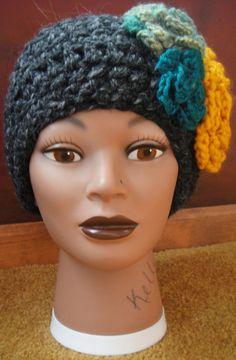 winter headwrap  gray with multicolored flowers by adamkhloe, $15.00