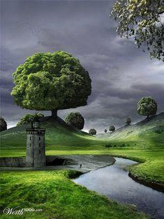 Fantasy landscape, come walk wth me :-) Beautiful Moon, Beautiful Places, Mysterious Places, Fantasy Places, Shade Trees, Old Paintings, Fantasy Landscape, Nature Animals, Beautiful Landscapes