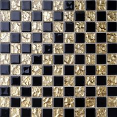 black mixed golden glass art mosaic for bathroom shower tile backsplash Mirror Tiles, Bathroom Floor Tiles, Glass Mosaic Tiles, Floor Mirror, Shower Floor, Mosaic Art, Bathroom Wall, Room Tiles, Cement Tiles