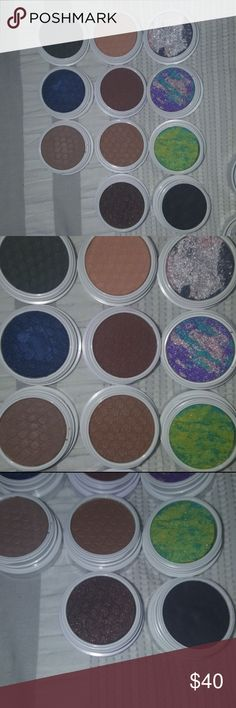 Colourpop bundle I'm ready to destash my stash! These are all of my extra Colourpop shadows that I will not use and if they have been used (shown in photos) it's only been 1-2x. The used shadows are straight trippin, as if, and baby t. The BNIB shadows are high rise, I spy, to-a-t, bandit, mooning, pop rocks, meow, and mermaid kiss. I'm only looking to sell these as a set. Will come with the forever freshman box, and the all nighter box. Colourpop Makeup Eyeshadow