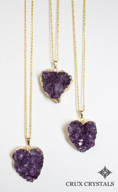 Valentine's Day Gift Heart Shape Natural Purple by CruxCrystals Geode Necklace, Amethyst Necklace, Amethyst Pendant, Amethyst Gemstone, Purple Amethyst, Pendant Necklace, Amethyst Rings, Valentine Day Gifts, Valentines