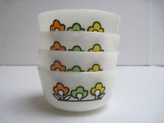 Vintage Milk glass Fire king custard bowls by southcentric on Etsy, $14.35