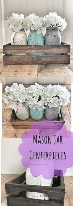 Mason jar centerpiece, mason jar decor, rustic home decor, farmhouse decor, mason jar planter box, diy home décor ideas #affiliatelink