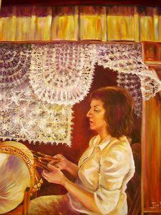 Rendeira Silvia - La dentellière Sylvia.  Huile sur toile de Iara VENIER (brésilienne)