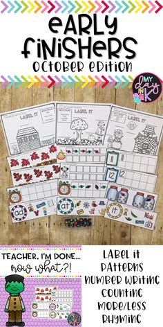 Early Finisher Centers are the perfect way to keep all your students engaged while you are trying to finish a classroom activity. Students who finish fast can work on the activities included within this Early Finishers Set. Label pages, patterns, counting, teen numbers, rhyming, and more included. Click the picture to read more. A Classroom, Kindergarten Classroom, Classroom Activities, Teen Numbers, Resource Room, Early Finishers, Reading Centers, School Daze, Activity Centers