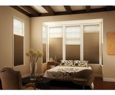 Cellular Shades : Also known as Honeycomb/ Accordion style. Most energy efficient window coverings available today. Available with features like cordless, room darkening, top down-bottoms up, motorized etc. Sunroom Blinds, Blinds For Windows, Skylight Blinds, Window Blinds, Bedroom Windows, Skylights, House Windows, Buy Bedroom Furniture, Modern Window Treatments