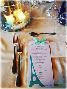 Paris mon amour!!!matrimonio tema Parigi e Tiffany ...#wedding #menù #Paris #nozze