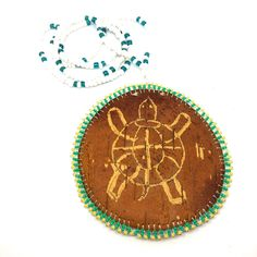 Image of Birchbark Medallion (Turtle) Birch Bark Crafts, Native American Fashion, Seed Beads, Jewelry Box, Glass Beads, Projects To Try, Pendants, Boutique, Personalized Items