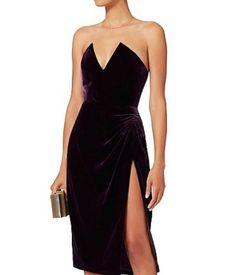 NWT CUSHNIE ET OCHS DECOLETTE SEXY PLUM VELVET DRESS SZ US 4  2017 #CUSHNIEETOchs #Cocktail