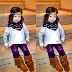 Live the metallic leggings and headband. Fashion Kids