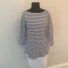 J McLaughlin top Navy blue and white J McLaughlin top with great buttons. This top is a size large. J. McLaughlin Tops