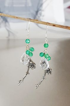 Silver Flower Branch Earrings  Twig Earrings  by Tatjanajewellery