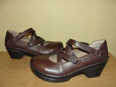 SANITA Womens Shoes NEVE Brown Leather Comfort Clogs Strappy Mary Janes 39/8-8.5 #Sanita #Clogs #WeartoWork