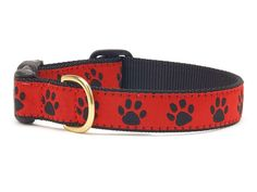 Red and Black Paw Print Ribbon Dog Collar - BeauJax Boutique Go Team! Your furry sports fan will stand out in the crowd at the Game Day Tailgate in this adorable Red and Black Paw Print Ribbon Dog Collar! Plaid Dog Collars, Cute Dog Collars, Cat Collars, Printed Ribbon, Dog Design, Print Design, Dog Toys, Toy Dogs, Dog Supplies