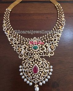 Heavy Diamond Necklace by Moksha Diamond Necklace Set, Diamond Choker, Diamond Jewelry, Gold Jewelry, Jewelery, Gold Necklace, Indian Jewellery Design, Indian Jewelry, Jewelry Design