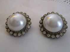 New Listing Started vintage silvertone large clipon earrings round faux pearl centre/clear stones £1.75