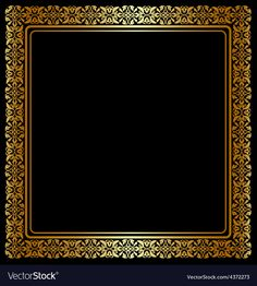 """Buy the royalty-free Stock vector """"Gold frame with floral ornament on black background"""" online ✓ All rights included ✓ High resolution vector file for p. Vector Logo Design, Color Vector, Logo Design Template, Vector Art, Luxury Logo Design, Modern Logo Design, Graphic Design, Vector Border, Love Couple Photo"""