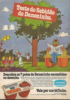 Propaganda do Danoninho veiculado em 1983 com um passatempo incorporado ao…