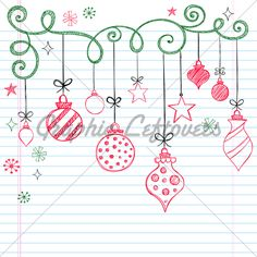 Christmas Ornaments Sketchy Doodles Vector Illustration Design Elements
