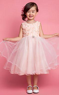 Ball Gown Jewel Renda chá de comprimento menina Tulle Vestidos Flor