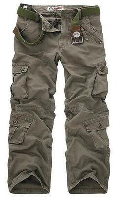 Hajotrawa Men Classical Trousers Elastic Waist Pure Color Cotton Ankle Pants