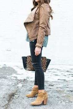 Winter Outfit to Copy:: Outfit Inspiration ft. Brown Leather Jacket, Black Jeans, Rag & Bone Booties, Madewell Sweater