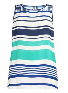 Blue And White Striped Vest Top