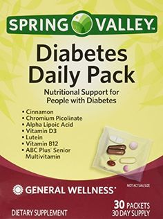Spring Valley Diabetes Daily Pack, Supports General Wellness, 30 Packets ** To view further for this item, visit the image link.