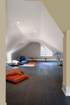 Game room attic home gym contemporary with recessed lighting yoga room
