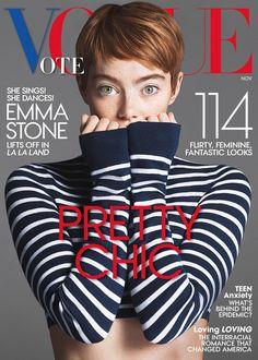 Emma Stone é a estrela de Looks Pretty Chic na Vogue USA novembro 2016  Fragmentos de Moda