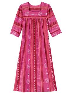 This breezy cotton dress features a flattering square neckline, gentle shirring below the yoke for an easy fit and two inset pockets. Machine wash and dry. Pakistani Party Wear Dresses, Indian Gowns Dresses, Fuschia Dress, Mode Abaya, Cute Prom Dresses, Couture Outfits, Dress Indian Style, Batik Dress, Dress Sewing Patterns