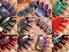 #1 - a England Lady of the Lake (Tristam's purple sister)  #2 - Essence Waking Up in Vegas (Dance TC, Re-Mix Your Style TE)  #3 - Color Club Wild at Heart   #4 - Depend Cracked Effect #5011 (Depend made the best crackle polishes of the year, IMO)  #5 - Essence Gold Old Buffy (Vampire's Love TE)  #6 - Etude Mystic Purple (definitely my most mysterious polish of 2011)  #7 - Essence Just Can't Get Enough (Pop TC, Re-Mix Your Style TE)  #8 - Illamasqua Throb (best red creme, one coater)  #9…