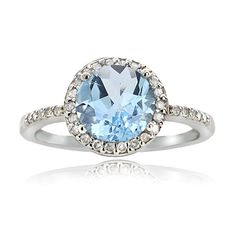 Glitzy Rocks Sterling Silver 2 1/2ct TGW Blue Topaz And 1/6ct TDW Diamond Solitaire Ring | Overstock.com Shopping - The Best Deals on Gemstone Rings