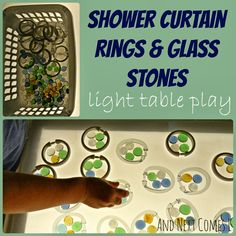 A simple invitation to play on the light table using shower curtain rings and glass stones from And Next Comes L