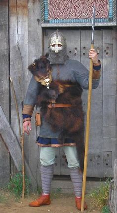Norse warrior at the threshold. From the Wulfheodenas living history organization's Facebook page.