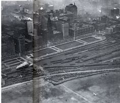 Wingfoot Express : chicagology  Aerial view of Grant Park in 1919