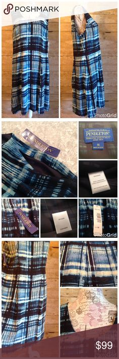 "Pendleton Laura Dress NWT Pendleton New with tags MSRP $179.00 100% Rayon Laura Dress   Dry Clean Fully Lined - 100% polyester, black Blue/White Stripes Zipper on side Women's size 16 Style: TJ034-68664 Measurements with garment laying flat, double number for ""total"" around  Shoulder: 15-1/4"" Armpit to Armpit: 21-1/2"" Waist: 19-1/2"" - measured 6"" from the armpit Hips: 23"" - measured 14"" from the armpit Length: 40"" - measured from center back of neck to bottom hem Pendleton Dresses"