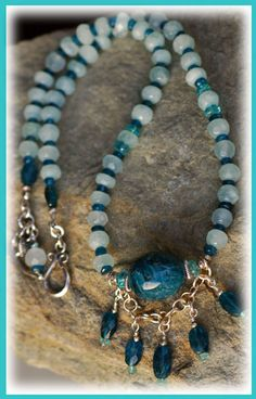Romance at Sea Necklace...  IN THE MIX Aquamarine...symbol of happiness & everlasting youth Blue Apatite....expansion of knowledge Light blue (aqua) Apatite Blue Apatite nugget centerpiece Turkish & Bali silver accents  SIZING IT UP Necklace measures.....17.5 inches
