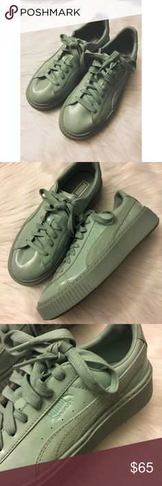 Puma Basket Mint Green Creeper Shoes New! Just tried on. No box. Very cute! Sold out! True color seen in stock photos! Puma Shoes Athletic Shoes
