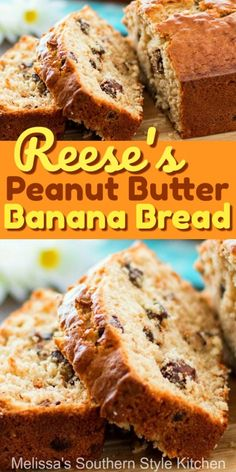 Peanut butter cups and banana bread collide in this glorious treat bananabread reeses peanutbutterbread breadrecipes brunch breakfast dessertfoodrecipes southernfood southernrecipes melissassouthernstylekitchen Peanut Butter Banana Bread, Best Banana Bread, Reeses Peanut Butter, Peanut Butter Recipes, Delicious Desserts, Dessert Recipes, Yummy Food, Recipes Dinner, Pasta Recipes