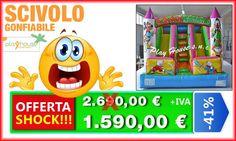 Scivolo gonfiabile doppio in offerta shock 1.590€ http://playhousegonfiabili.it/offerte-shock-giochi-bambini/giochi-gonfiabili-scivoli-gonfiabili-detail.html