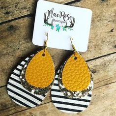 Mustard Yellow on Gold Glitter & Stripes Leather Dangles – Mae Rose Boutique