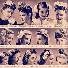 Hair hair flowers made of silk or rayon - History, photos and tips to wearing 4 classic vintage hair accessories: Snoods, hair flowers, turbans and hair bows. Makeup Vintage, Vintage Beauty, 1940s Hairstyles, Wedding Hairstyles, African Hairstyles, Latest Hairstyles, Pin Up Hair, My Hair, Cabelo Pin Up
