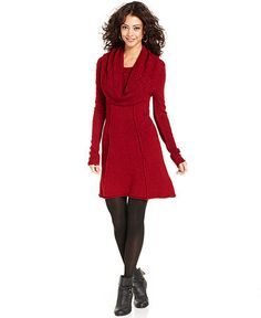 Kensie Dress, Long-Sleeve Cowl-Neck Sweater