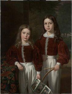 1841 Jean Joseph Vaudechamp - Portrait of Two Children, Probably the Sons of M. Almeric Berthier, comte de LaSalle