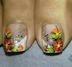 Pedicure Designs, Toe Nail Designs, Toe Nail Art, Easy Nail Art, Colour Tip Nails, Nail Colors, Pretty Toe Nails, Floral Nail Art, Nail Decorations